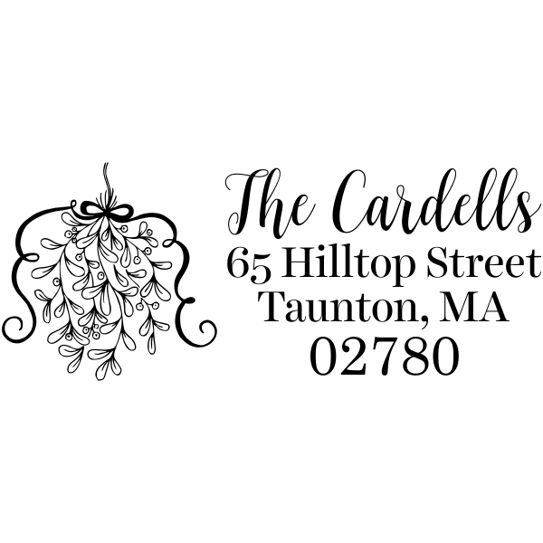Curly Mistletoe Holiday Address Stamp