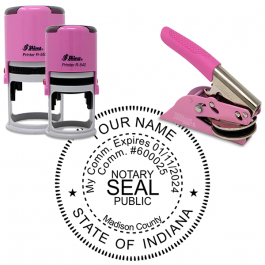 Indiana Notary Pink - Round Design Seal