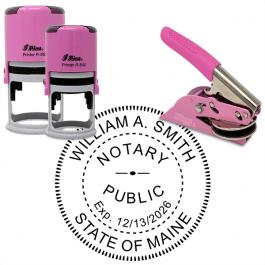 Maine Notary Pink - Round Design Seal