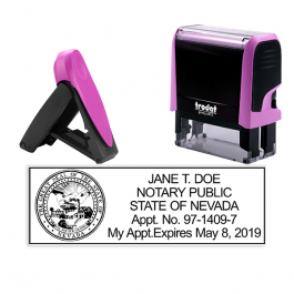 Nevada Pink Rectangle Notary Stamp