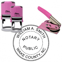 North Carolina Notary Pink - Round Design Seal
