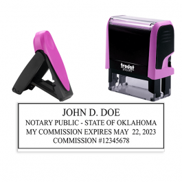 Oklahoma Pink Rectangle Notary Stamp