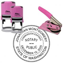 Washington Notary Pink - Round Design Seal