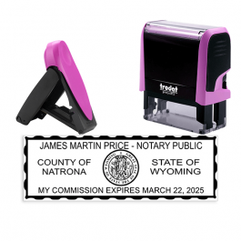 Wyoming Pink Rectangle Notary Stamp