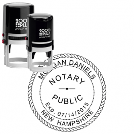 New Hampshire with Expiration Date Round Notary Stamp