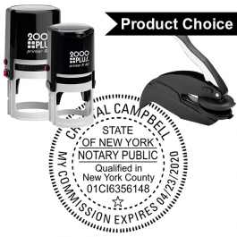 New York Notary Round with County and Expiration Seal