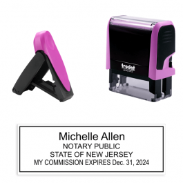 New Jersey Pink Rectangle Notary Stamp
