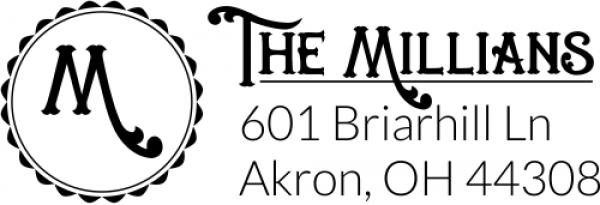 Whimsical Millian Monogram Address Stamp