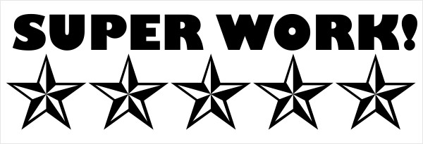 Feedback - 5 Stars SUPER WORK! Rubber Teacher Stamp