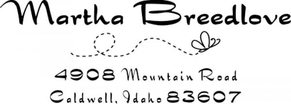 Breedlove Butterfly Rubber Address Stamp