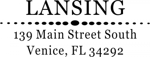 Lansing Deco Oval Circles Address Stamp