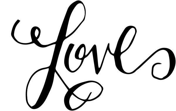 Hand lettered Love Stamp