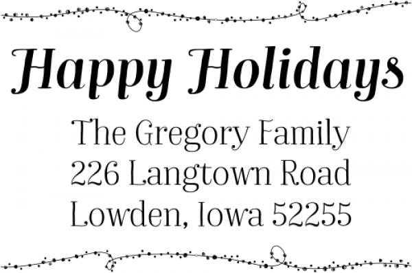 Happy Holidays Winter Lights Return Address Stamp