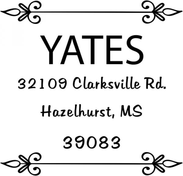 Yates Vintage Deco Square Address Stamp