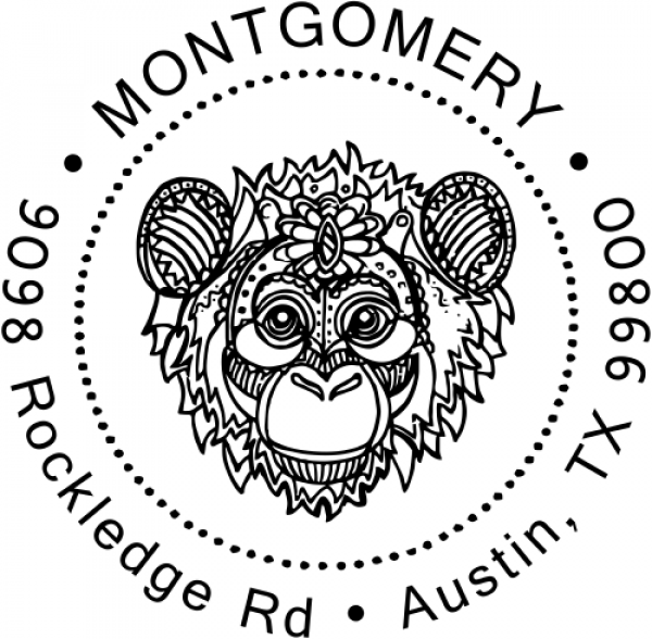 Funky Monkey Head Return Address Stamp