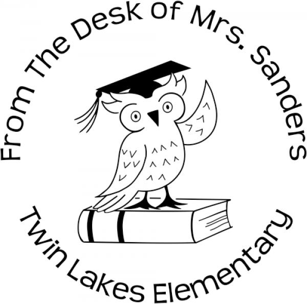 Owl teacher rubber stamp