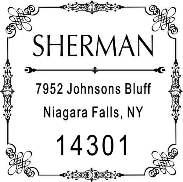 Vintage Deco Border Return Address Stamp
