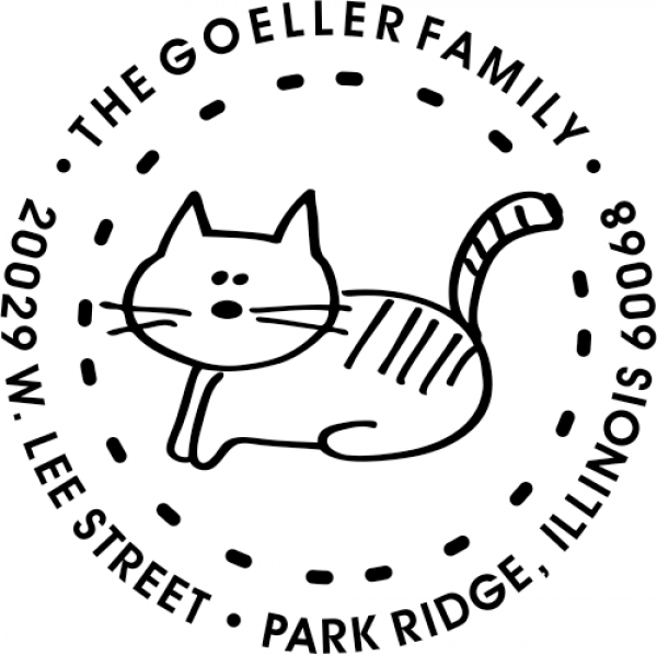 Kitty Round Address Stamp Rubber Stamp