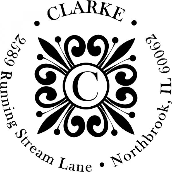 Clarke Deco Monogram Return Address Stamper