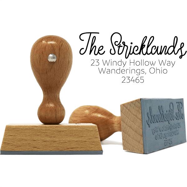 Strickland Wood Handle European Address Stamp