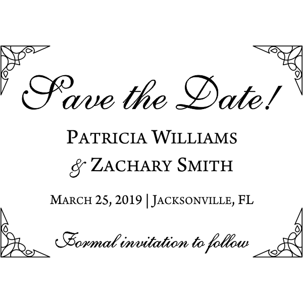 Formal Ornate Wedding Save the Date Stamp