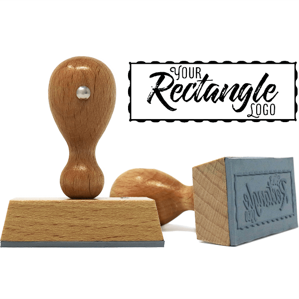 Rectangle Logo Custom Hand Stamp with Wavy Border