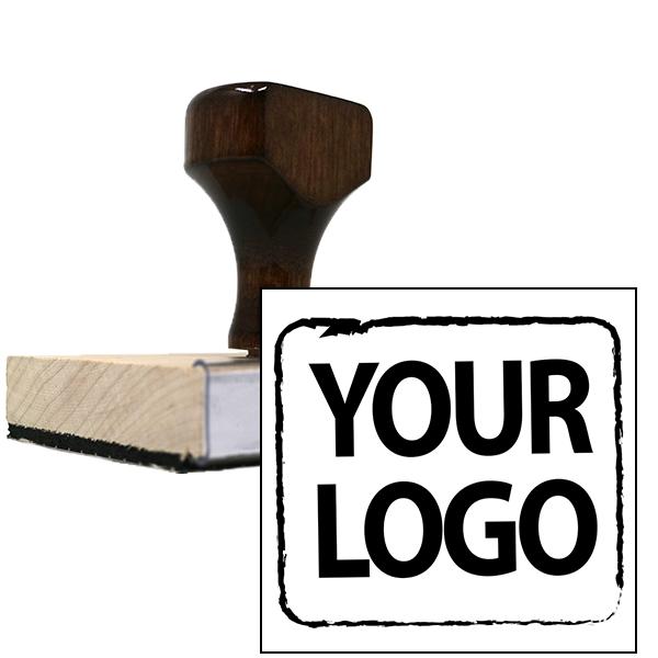 Square & Round Logo Stamp   Large Wood Handle Hand Stamp