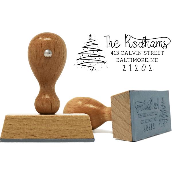 Rodham Script Christmas Tree Return Address European Hand Stamp