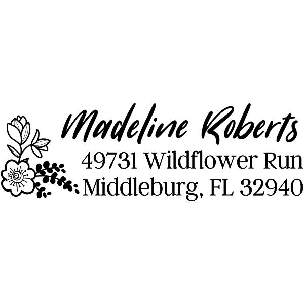 Wildflower Floral Address Stamp