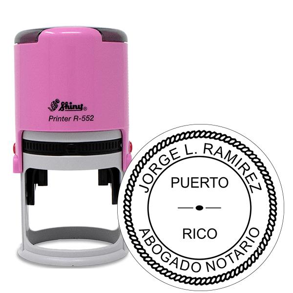Puerto Rico Notary Pink Stamp - Round Design