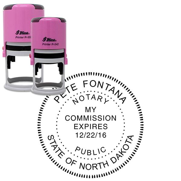 North Dakota Notary Stamp Pink - Round Design