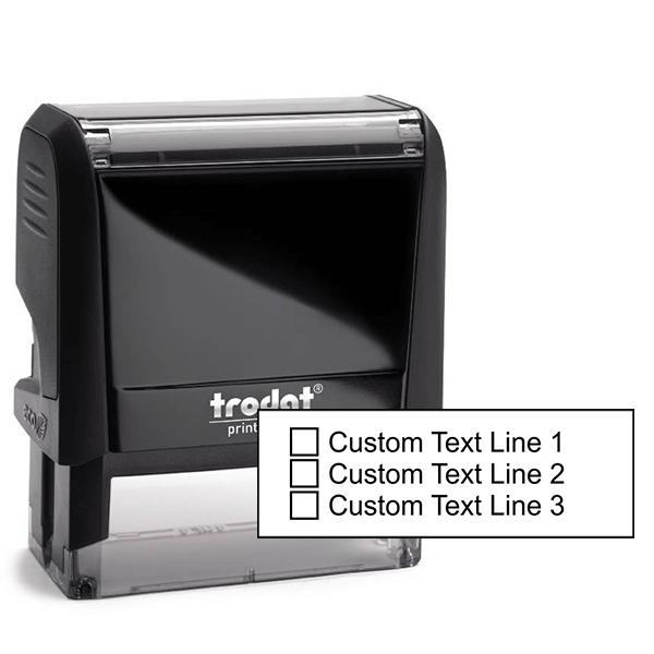 3 Line Checkbox Custom Rubber Stamp