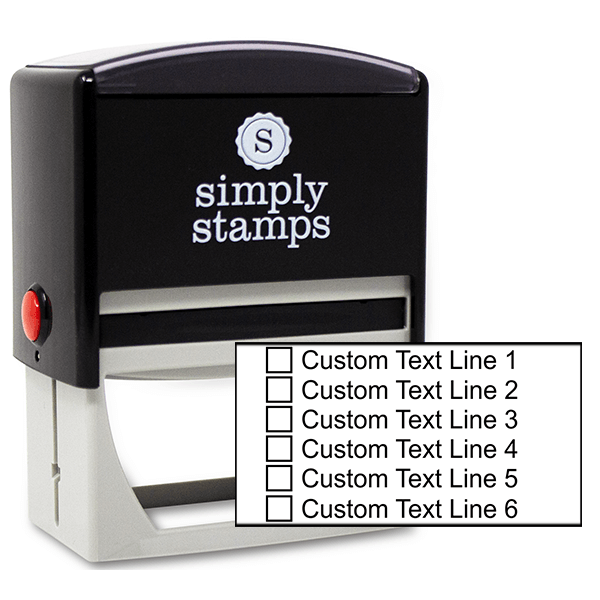 6 Line Checkbox Custom Rubber Stamp