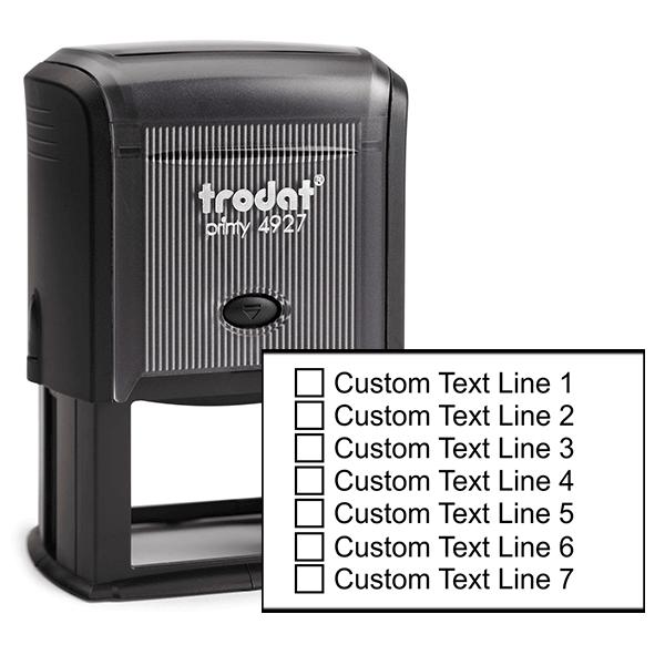 7 Line Checkbox Custom Rubber Stamp