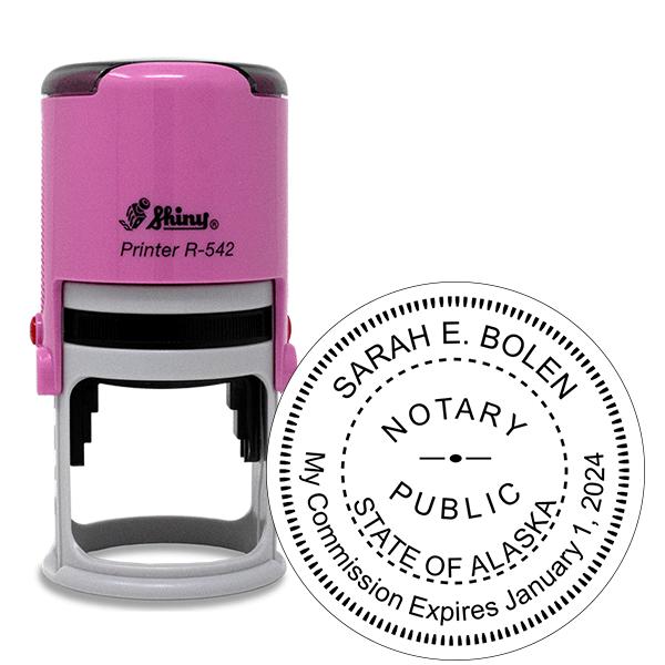 Alaska Notary Pink Stamp - Round