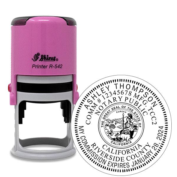 California Notary Pink Stamp - Round