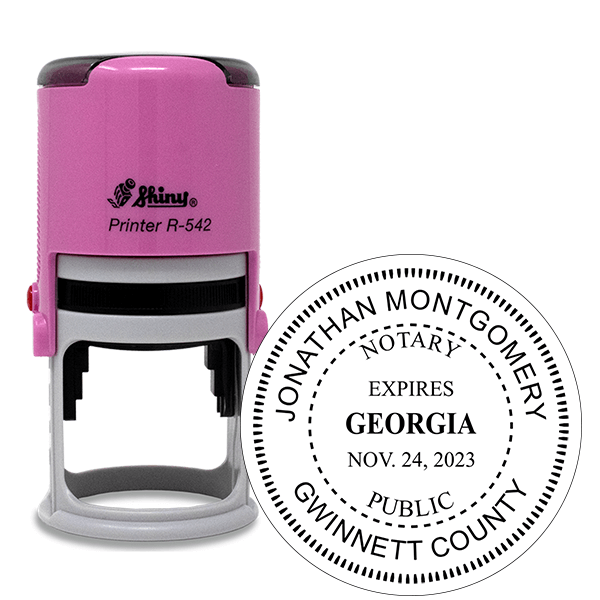 Georgia Notary with Expiration Date Pink Stamp - Round
