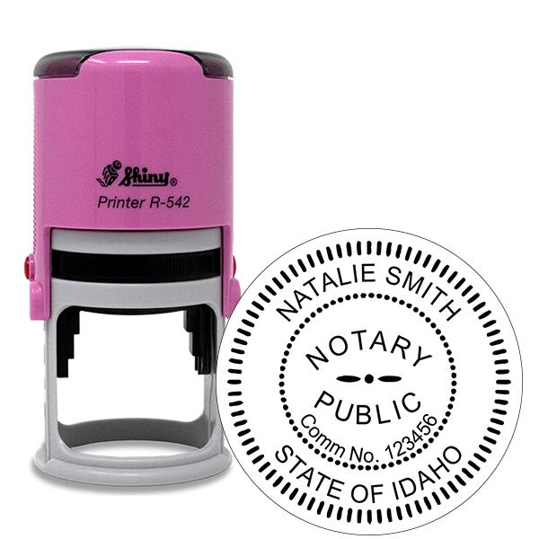 Idaho Notary Pink Stamp - Round