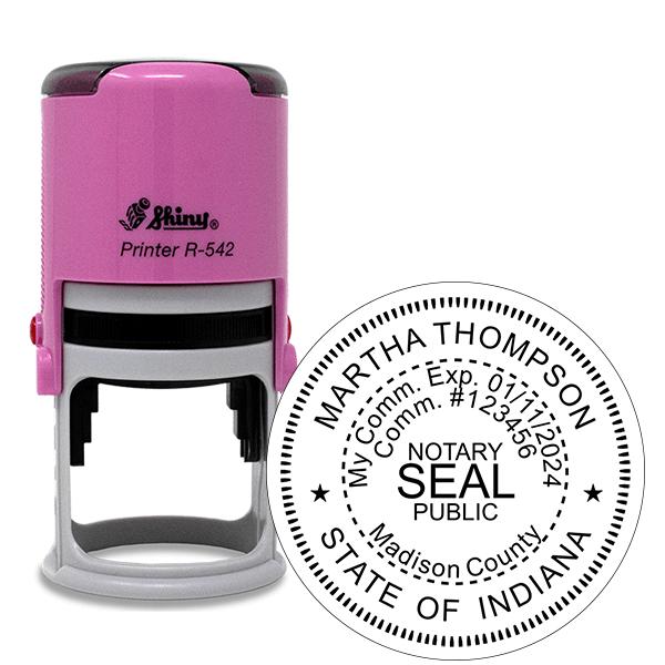 Indiana Notary Pink Stamp - Round