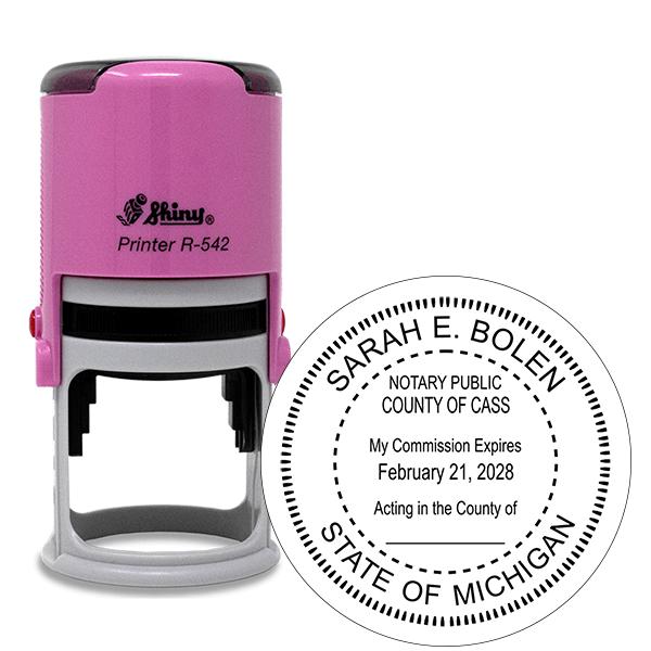 Michigan Notary Pink Stamp - Round