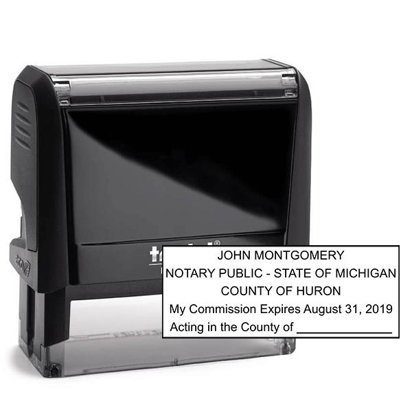 Michigan Notary Pink Stamp - Rectangle