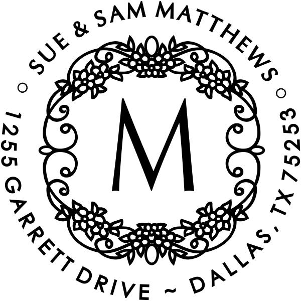Matthews Flowers Monogram Address Stamp