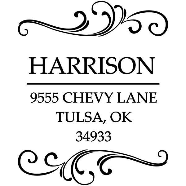 Square rubber address stamp design