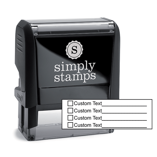 4 Line Box Form Custom Rubber Stamp