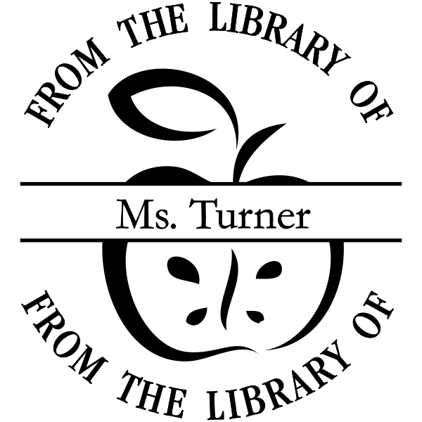 From The Library Of - Apple Rubber Teacher Stamp
