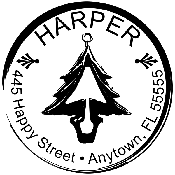 Holiday Christmas Tree Return Address stamp