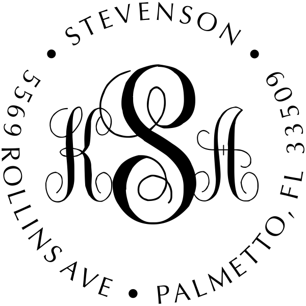 Fancy Monogram Self-Inking Address Stamp