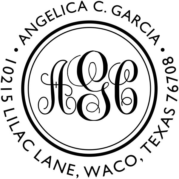 Angelica Monogram Address Stamp