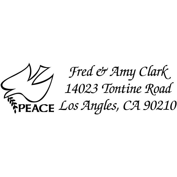 peace dove rubber address stamp design