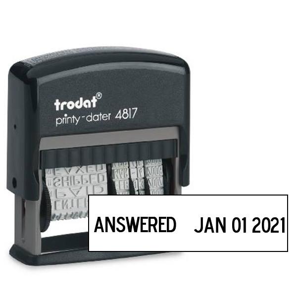 Trodat Dial Phrase Dater rubber stamp impression
